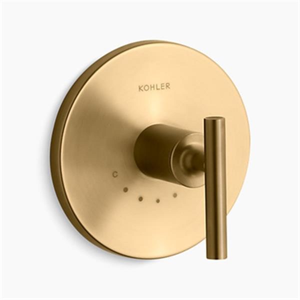 KOHLER Purist Vibrant Moderne Brushed Gold Lever Handle Thermostatic Valve Trim