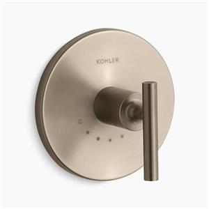 KOHLER Purist Vibrant Brushed Bronze Lever Handle Thermostatic Valve Trim