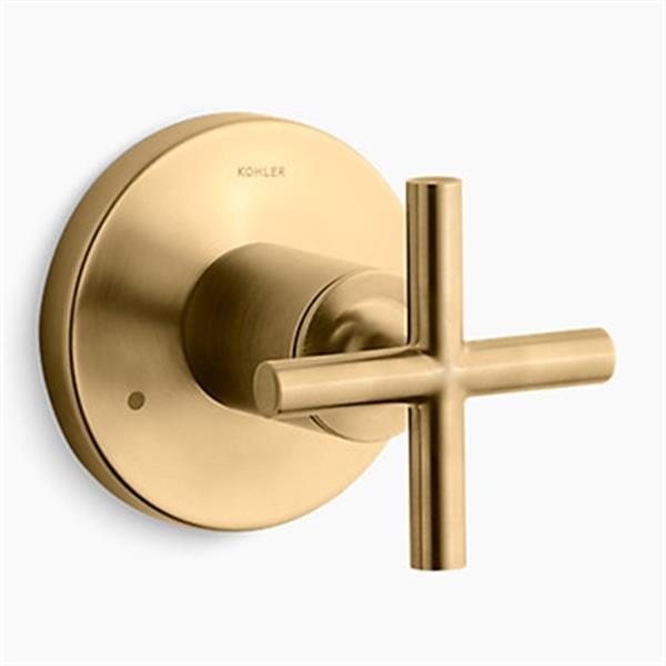 KOHLER Purist Vibrant Moderne Brushed Gold Cross Handle Transfer Valve Trim