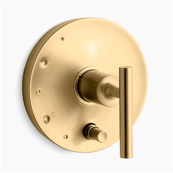KOHLER Purist Vibrant Moderne Brushed Gold Rite-Temp Pressure Balancing Valve Trim