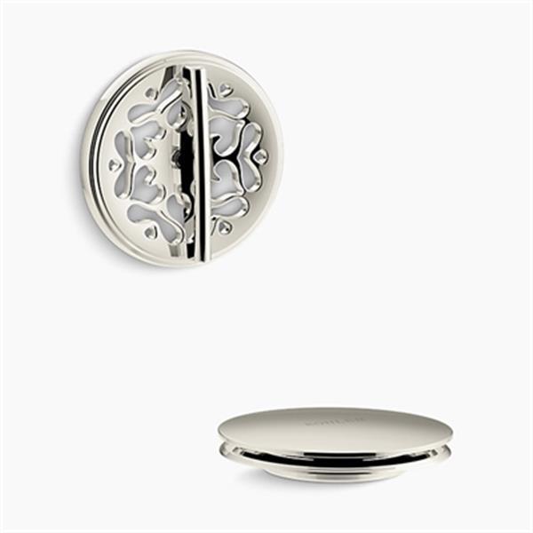 KOHLER PureFlo Victorian Rotary Turn Bath Drain Trim (Polished Nickel)