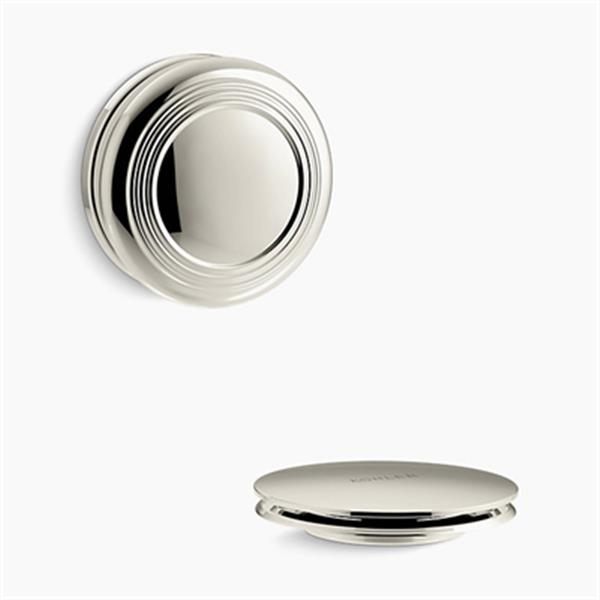 KOHLER PureFlo Traditional Push Button Bath Drain Trim (Polished Nickel)