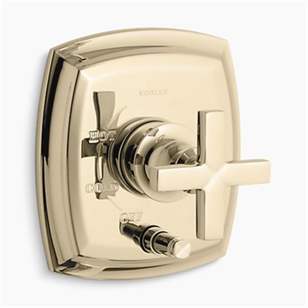 KOHLER Margaux Vibrant French Gold Rite-Temp Pressure-Balancing Valve Trim with Push-Button Diverter
