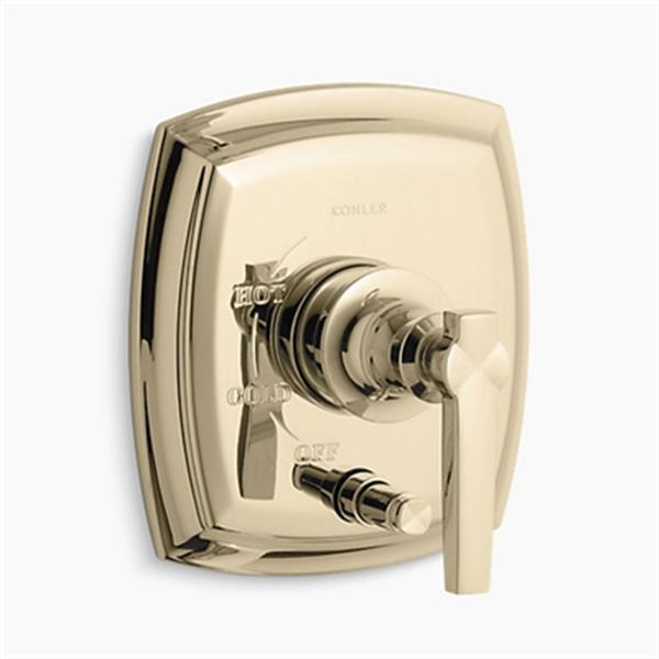KOHLER Margaux Vibrant French Gold Rite-Temp Pressure-Balancing Valve Trim with Push-Button Diverter