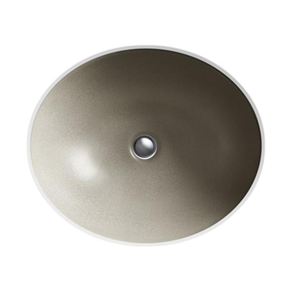 KOHLER Shagreen 19.25 Oyster Pearl Porcelain Caxton Under Mount Bathroom Sink