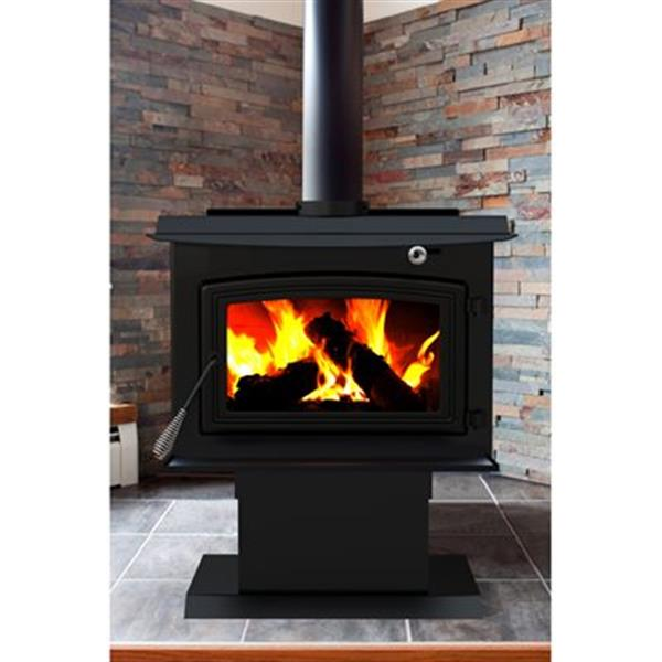 Pleasant Hearth 30.9-in x 30.5-in Black Large Wood Burning Stove