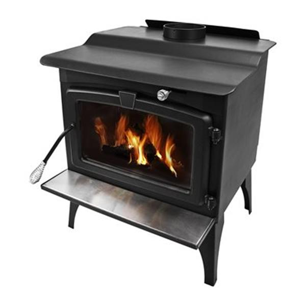 Pleasant Hearth 30.9-in x 26.5-in Black Large Wood Burning Stove