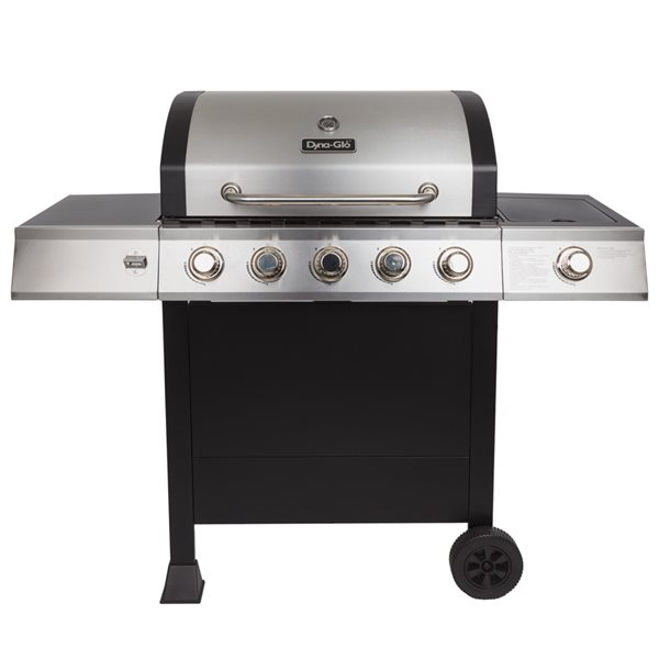 5-Burner Open Cart Gas Grill with Side Burner - 60,000 BTU