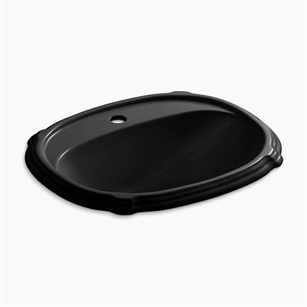 KOHLER Portrait 22.63-in x 8.88 Black Porcelain Self Rimming Sink