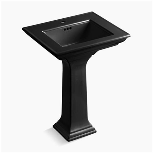 KOHLER Memoirs 24.50-in Black Fire Clay Pedestal Sink with Stately Design