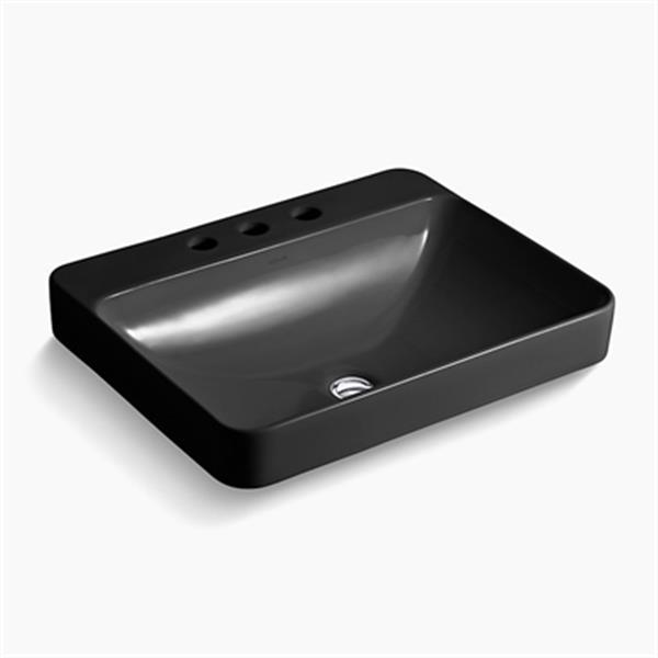 KOHLER Vox 23-in Black Porcelain Sink with Faucet Deck