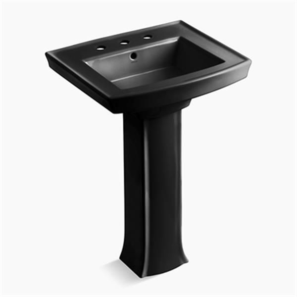 KOHLER Archer 35.25-in x 23.94-in Black Rectangular Pedestal Sink with Faucet Hole