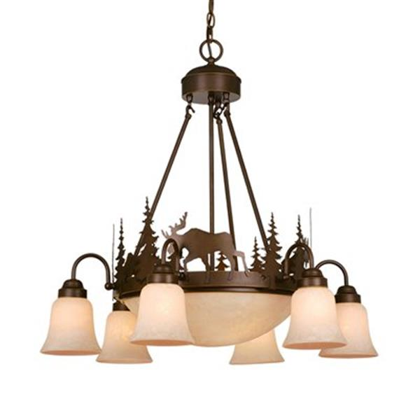 Cascadia Yellowstone 9-Light Bronze Rustic Moose Chandelier