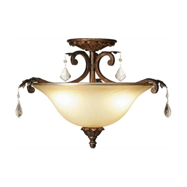 Artcraft Lighting Florence 3-Light Oiled Bronze Semi Flush Ceiling Light