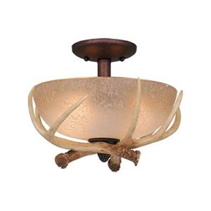 Cascadia Lighting Log Cabin Weathered Patina Semi Flush Ceiling Light