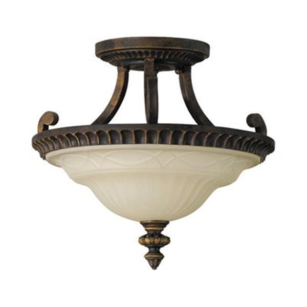 Feiss Drawing Room 2-Light Walnut Semi Flush Ceiling Light