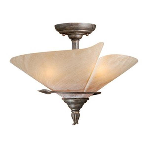Cascadia Capri 3-Light Bronze Rustic Vine Semi Flush Mount Ceiling Light