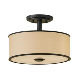 Feiss Casual Luxury 2-Light Dark Bronze Semi Flush Ceiling Light.