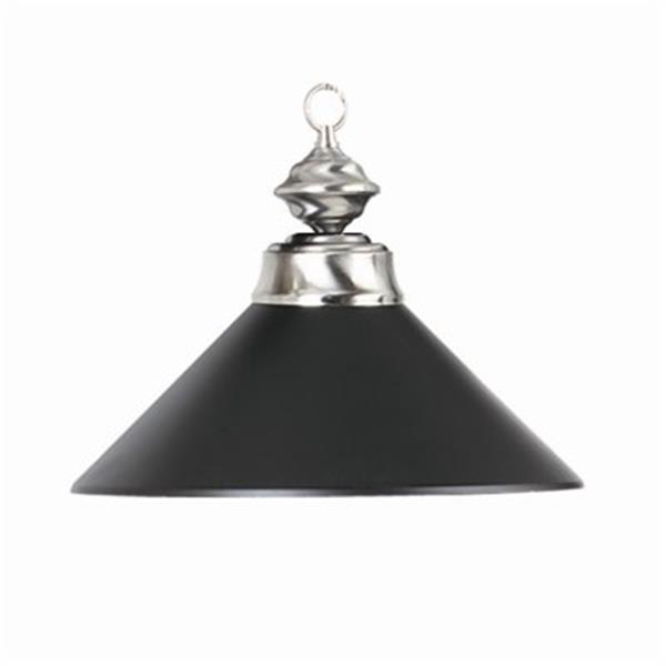RAM Game Room Products Metal Halophane Shade Matte Black/Stainless Large Pendant Light