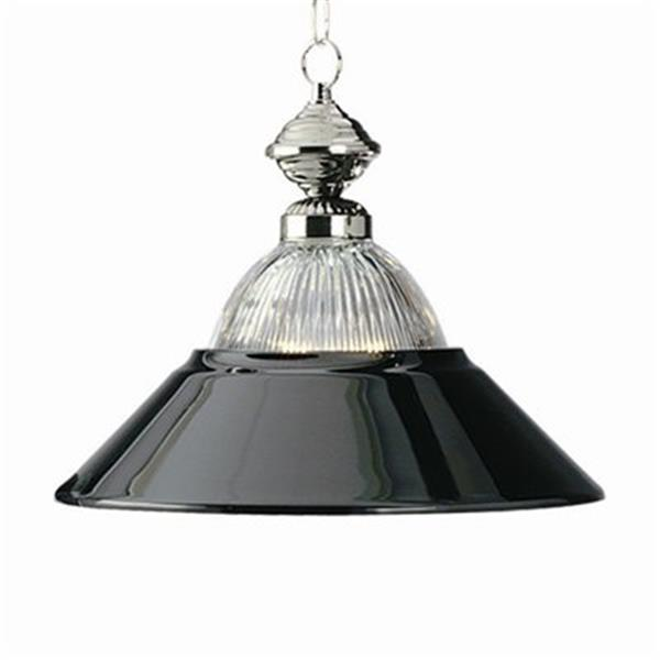 RAM Game Room Products Metal Halophane Glass Shade Black Chrome/Chrome Large Pendant Light