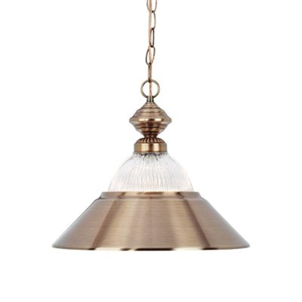 RAM Game Room Products Metal Halophane Glass Shade Matte Black/Stainless Steel  Large Pendant Light