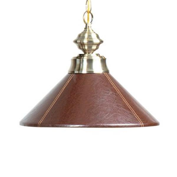 RAM Game Room Products Brown Leather Shaded Large Pendant Light