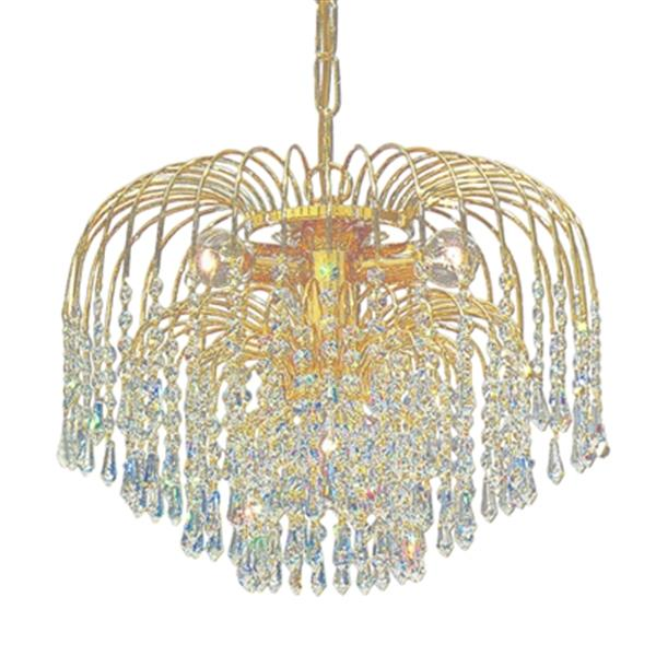 Classic Lighting Sprays 16-in 24k Gold Plate Swarovski Spectra Crystal Chandelier