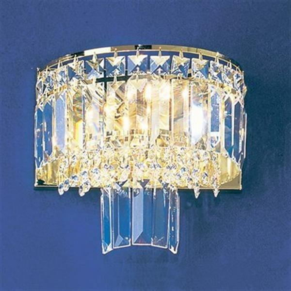 Classic Lighting Ambassador Collection 24k Gold Plate Crystalique-Plus 2-Light Wall Sconce