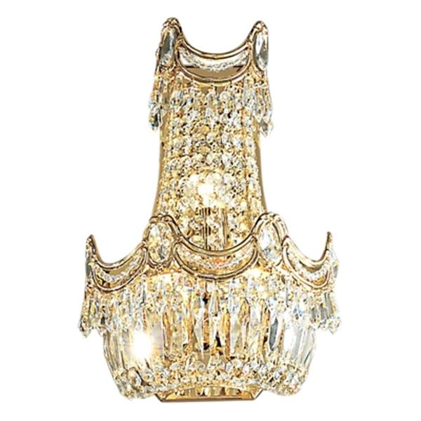 Classic Lighting Regency Collection 24k Gold Plate Swarovski Spectra 3-Light Wall Sconce