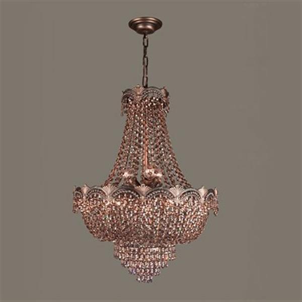 Classic Lighting Regency II 8-Light 29-in Roman Bronze Strass Golden Teak Chandelier