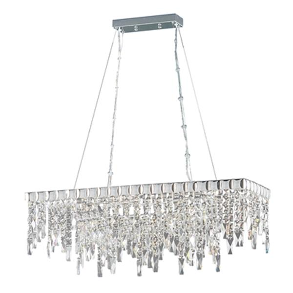 Classic Lighting Uptown Collection 13-in x 24-in Chrome Crystalique-Plus 10-Light Chandelier