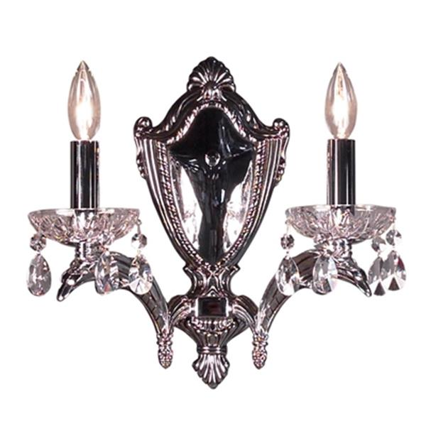 Classic Lighting Terragona Collection Chrome with Black Patina Swarovski Strass 2-Light Wall Sconce