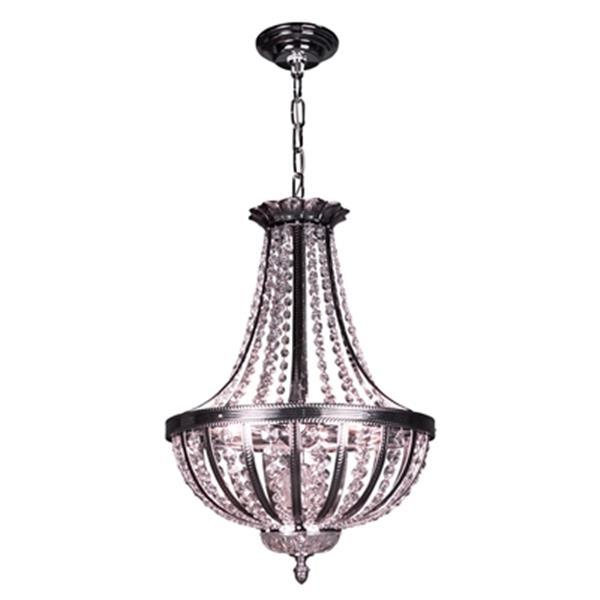 Classic Lighting 6-Light Terragona Chrome/Black Patina Large Bowl Pendant Light