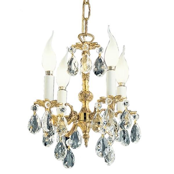 Classic Lighting Barcelona 12-in Olde World Bronze Crystalique 4-Light Mini Chandelier