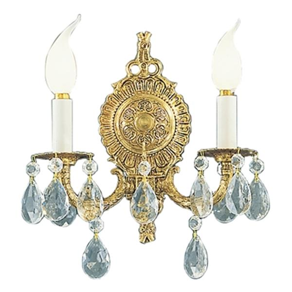 Classic Lighting Barcelona Collection Millennium Silver Swarovski Spectra 2-Light Wall Sconce