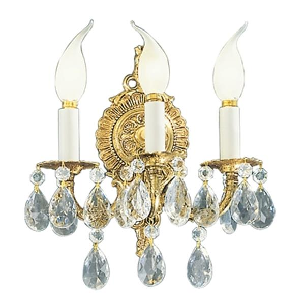 Classic Lighting Barcelona Collection Millennium Silver Italian Crystal 3-Light Wall Sconce