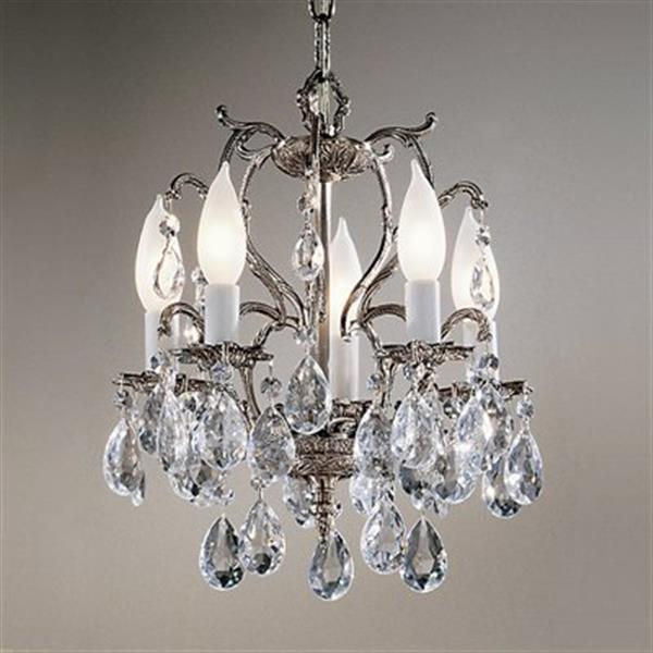 Classic Lighting Barcelona 13-in Millennium Silver Crystalique 5-Light Mini Chandelier