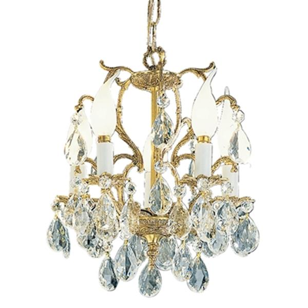 Classic Lighting Barcelona 13-in Old World Bronze Swarovski Strass Mini Chandelier