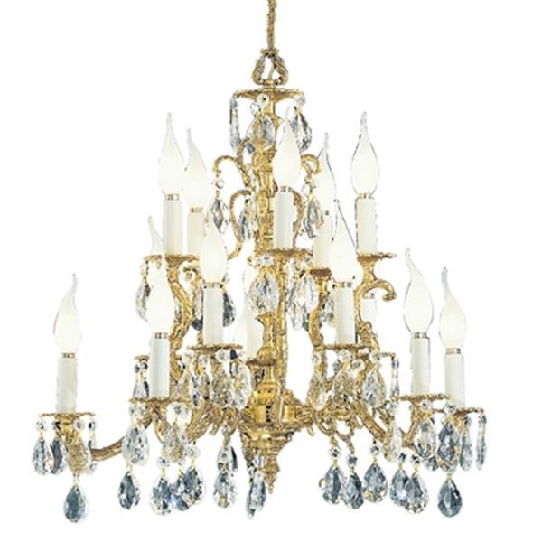 Classic Lighting Barcelona 23-in Old World Bronze Crystalique Golden Teak Chandelier