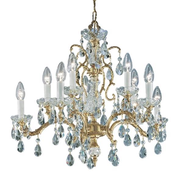 Classic Lighting Madrid 25-in Old World Bronze Crystalique Golden Teak Chandelier
