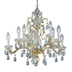Classic Lighting Madrid 25-in Roman Bronze Crystalique Golden Teak Chandelier