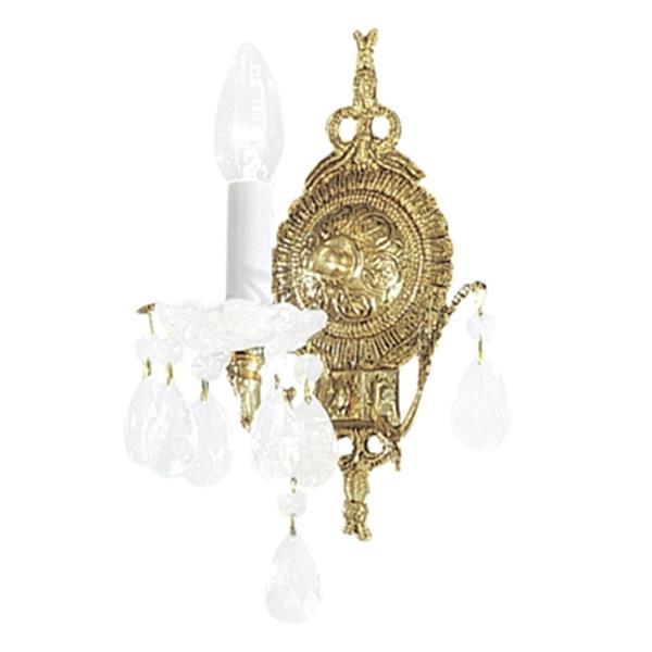 Classic Lighting Madrid Collection Roman Bronze Strass Golden Teak Single Light Wall Sconce