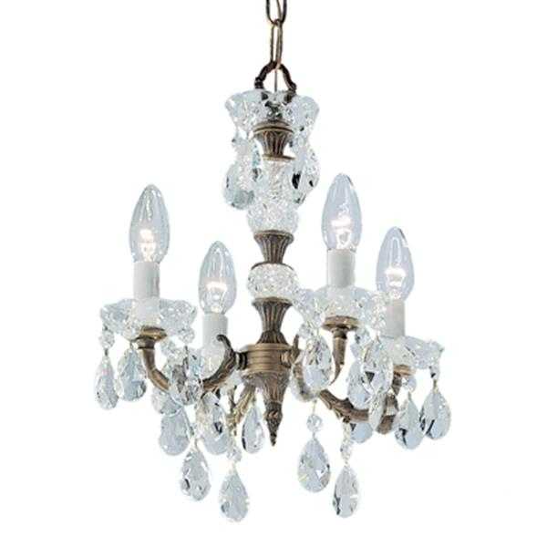 Classic Lighting Madrid Imperial 13-in Old World Bronze Prisms Amber Mini Chandelier