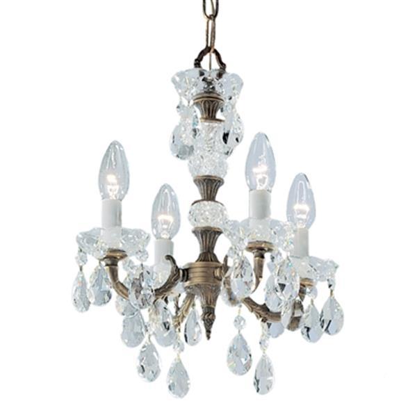 Classic Lighting Madrid Imperial 13-in Old World Bronze Swarovski Spectra Crystal Mini Chandelier