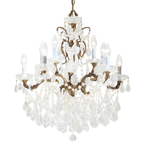 Classic Lighting Madrid Imperial 28-in Old World Bronze Crystalique Golden Teak Chandelier