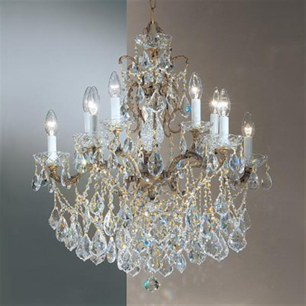 Classic Lighting Madrid Imperial 28-in Roman Bronze Crystalique Chandelier