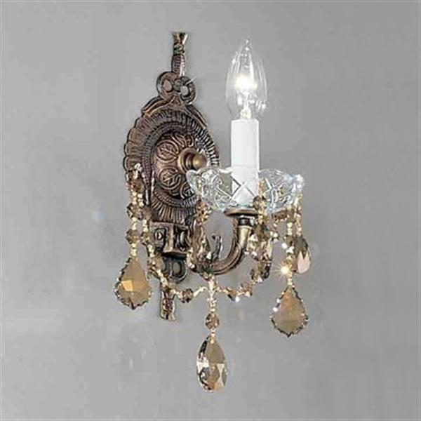 Classic Lighting Madrid Imperial Collection Roman Bronze Strass Golden Teak Single Light Wall Sconce