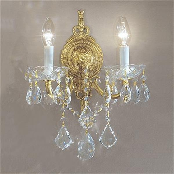 Classic Lighting Madrid Imperial Collection Olde World Bronze Crystalique 2-Light Wall Sconce