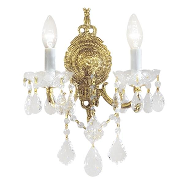 Classic Lighting Madrid Imperial Collection Olde World Bronze Crystalique Golden Teak 2-Light Wall Sconce