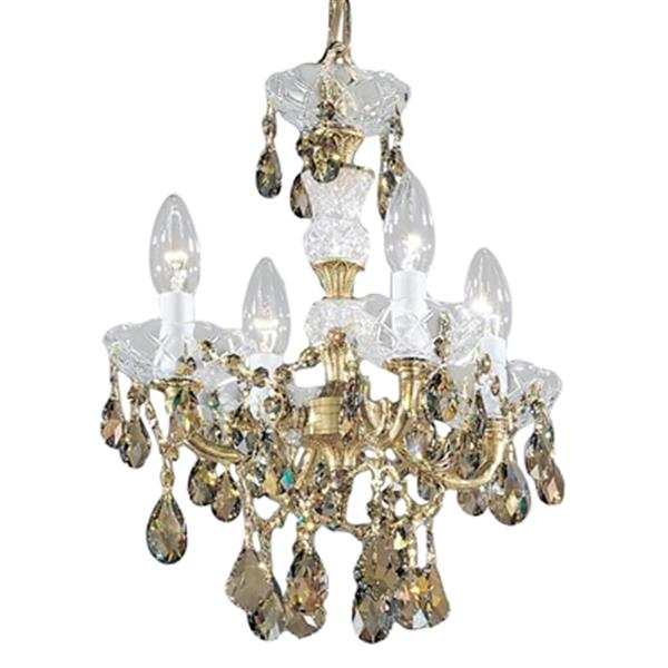 Classic Lighting Madrid Imperial 17-in Old World Bronze Strass Golden Teak 4-Light Mini Chandelier